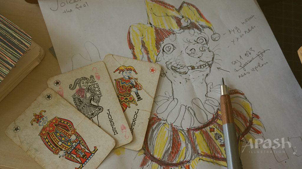 Картинката не може да има празен alt атрибут; името на файла е apash-illustration-dog-cards-poker-playing-men-kupa-dog-kingdom-joker-work-in-process-pencil-drawing-sketch-1024x575.jpg